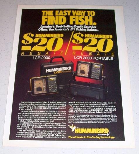 1986 Humminbird LCR2000 Depth Sounder Finder Color Ad