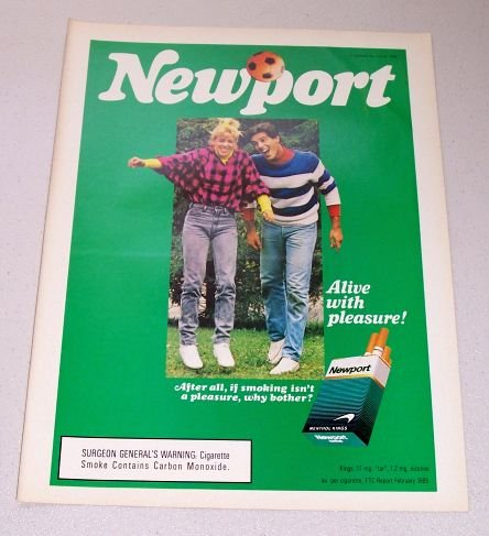1986 Newport Cigarettes Soccer Color Tobacco Ad