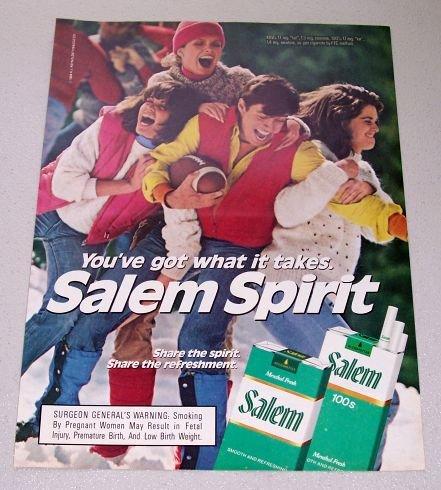 1986 Salem Cigarettes Football Color Tobacco Ad