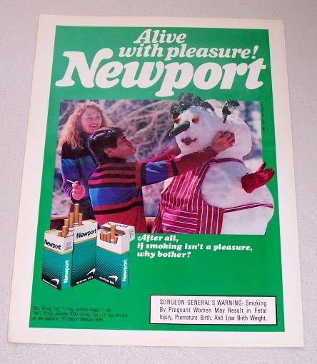 1986 Newport Cigarettes Winter Snowman Color Tobacco Ad