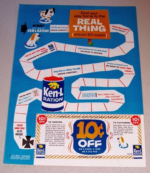 1962 Ken-L-Ration Dog Food Game Board Themed Color Print Ad