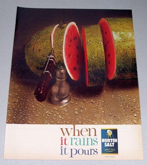 1961 Morton Salt Watermelon Color Print Ad