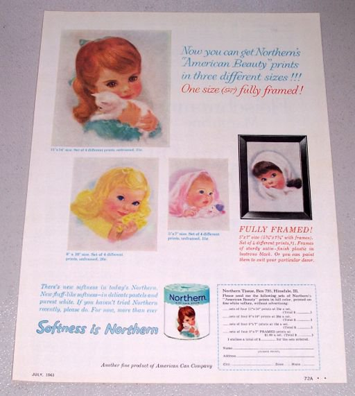 1961 Northern Bath Tissue American Beauty Color Print Ad