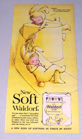1961 Waldorf Yellow Bath Tissue Bunny Art Color Print Ad