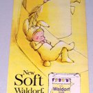 1961 Waldorf Yellow Bath Tissue Bunny Art Color Print Ad