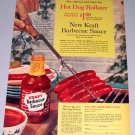 1961 Kraft Barbecue Sauce Hot Dog Rollster Color Print Ad