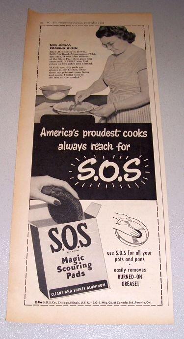 1952 SOS Scouring Pads Mrs Harry Bowra Albuquerque New Mexico Print Ad