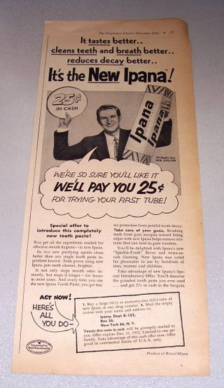 1952 Ipana Tooth Paste TV Celebrity Bud Collyer Print Ad