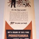 1952 Pennsylvania Motor Oil School Crossing Art Print Ad