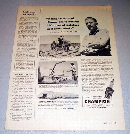 1956 Champion Spark Plugs Mont Anderson Blackfoot Idaho Print Ad