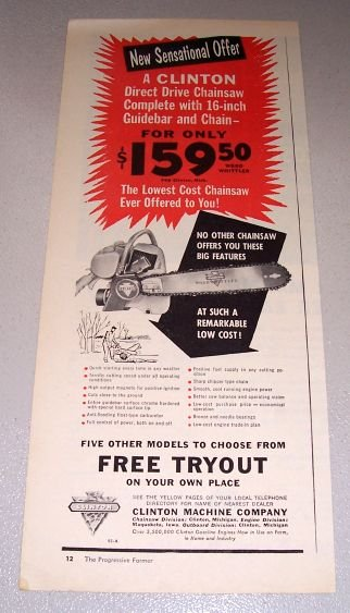 1956 Clinton Wood Whittler Chain Saw Print Ad