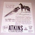 1952 Atkins No. 65 Silver Steel Saws Print Ad