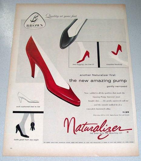1957 Brown Shoe Company Naturalizer Shoes Color Print Ad