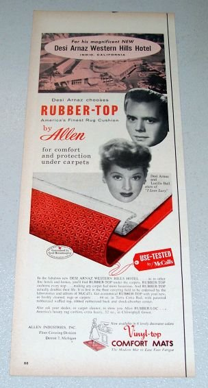1957 Allen Rubber Top Rug Cushion Color Print Ad Celebrity Lucille Ball Desi Arnaz