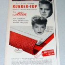1957 Allen Rubber Top Rug Cushion Color Print Ad Celebrity Lucille Ball Desi Arnaz