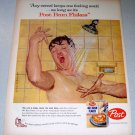1957 Post Bran Flakes Cereal Dick Sargent Art Color Print Ad