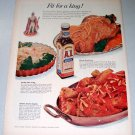1957 A1 Steak Sauce Color Print Ad Fit For A King