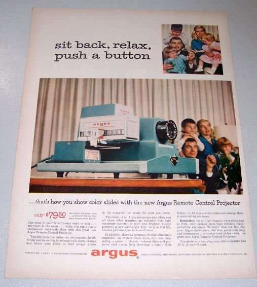 1957 Argus 300 Automatic Remote Control Slide Projector Color Print Ad