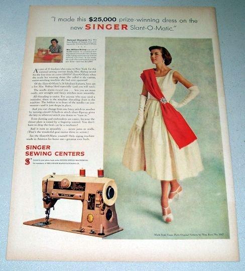 1957 Singer 401A Sewing Machine Color Print Ad Mrs William Bishop Oxnard California