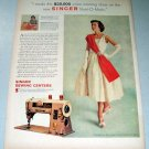 1957 Singer 401A Sewing Machine Color Print Ad Mrs William Bishop Oxnard California