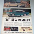 1957 Color 2 Page Print Ad for 1958 Rambler Ambassador Automobiles