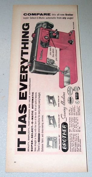 1957 Brother Automatic Sewing Machine Color Print Ad