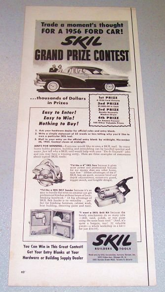 1955 Skil Builders Tools 1956 Ford Automobile Sweepstakes Print Ad