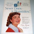 1955 Lustre Creme Shampoo Celebrity Debbie Reynolds Color Print Ad