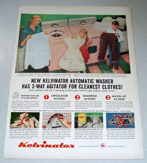 1955 Color Print Ad for 1956 Kelvinator Automatic Washer Dryer