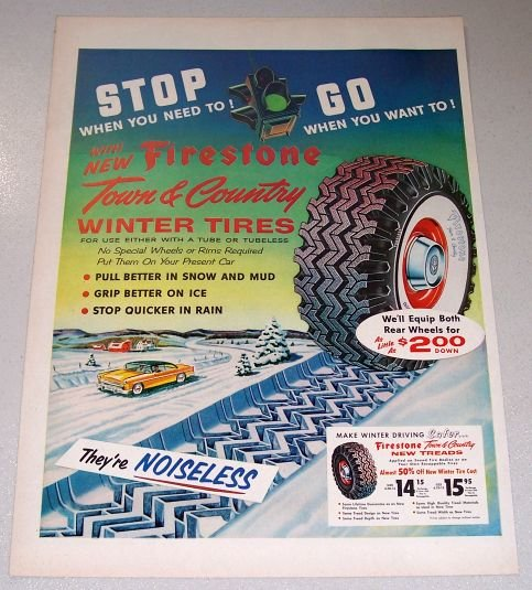 1955 Firestone Town Country Winter Tires Color Art Print Ad