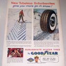 1955 Goodyear Suburbanite Winter Tires Color Art Print Ad