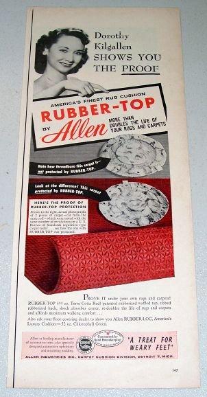 1955 Allen Rubber Top Rug Cushion Color Print Ad Celebrity Dorothy Kilgallen