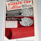 1955 Allen Rubber Top Rug Cushion Color Print Ad Celebrity Dorothy Kilgallen