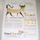 1956 United of Omaha Insurance Siamese Cats Art Color Print Ad