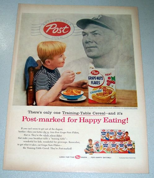 1956 Post Grape Nuts Cereal Print Ad Yankees Baseball Bill Dickey