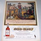1958 Old Crow Whiskey Color Print Art Ad Daniel Webster