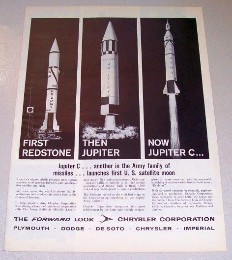 1958 Chrysler Corp US Missiles Redstone Jupiter Jupiter C Print Ad