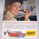 1958 Hertz Rent A Car Color Print Ad Happy Wife