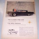 1958 Lincoln Landua 4 Door Automobile Color Print Car Ad