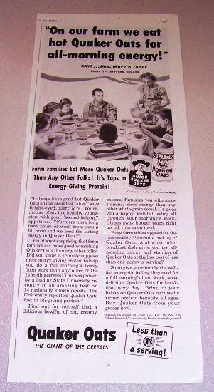 1952 Quaker Oats Print Ad Mrs Marvin Yoder Lafayette Indiana