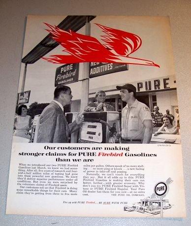 Pure Firebird Gasolines Gas Station 1961 Print Gas Ad