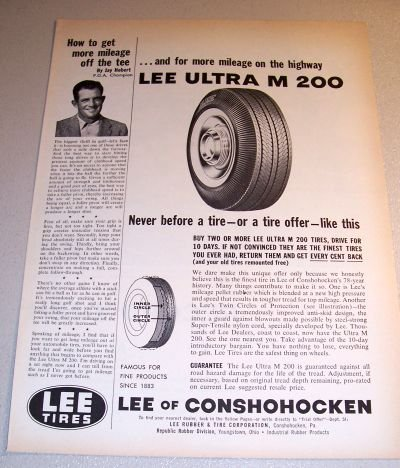 Lee Ultra M 200 Tires 1961 Print Ad PGA Golf Champ Jay Hebert