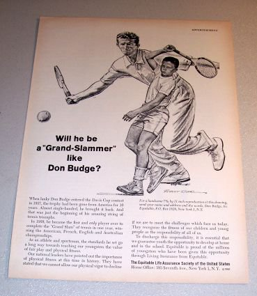 Equitable Life Assurance Society Riger Art 1961 Print Ad Tennis Don Budge