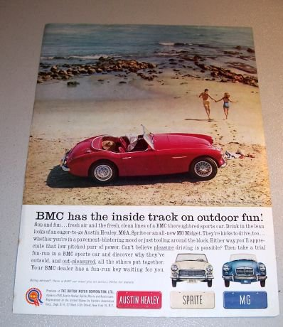 1961 BMC Austin Healey 3000 MKII Automobile Color Print Car Ad Paradise Cove California