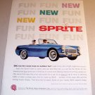 1961 BMC Sprite Convertible Automobile Color Print Car Ad