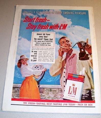 Liggett Myers LM Cigarettes 1961 Color Print Tobacco Ad