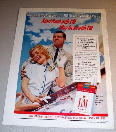 LM Cigarettes Liggett Myers 1961 Color Print Tobacco Ad