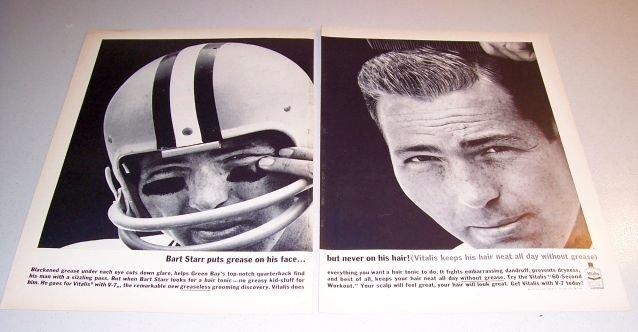 Vitalis Hair Tonic NFL Football Bart Starr 1962 Print 2 Page Ad