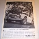 1962 Triumph TR-4 Convertible Sports Car Automobile Print Ad