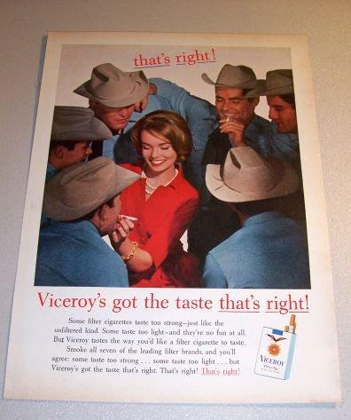Viceroy Cigarettes Cowboys 1962 Color Print Tobacco Ad